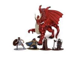 Dungeons And Dragons Die Cast Young Red Dragon Human Fighter Plus Figures - $35.77