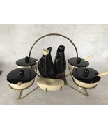 Mid Century Modern Lazy Susan Shawnee Antique Condiment Set ~ Black and ... - $19.95