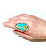 Vintage Navajo Sterling Silver natural Turquoise Native American Ring - $308.75