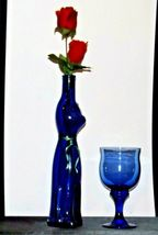 Blue Cat Stem Vase and Wine Glass AA19-1584 Vintage image 10