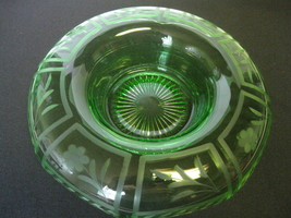 "Elegant Etched Glass Green 6 1/4"" Rolled Edge Console or Flower Frog Bowl - $46.99"