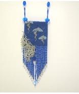 Amulet Bag Brick Stitch Seed Bead Super Fringed  Bag  Dark Blue White & ... - $369.99