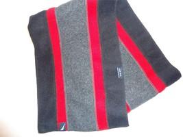 Nautica Long Grey/Black/Red Fleece Scarf - $21.71