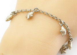 925 Sterling Silver - Vintage Puffy Star Charmed Petite Chain Bracelet -... - $32.75
