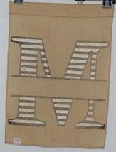 Kate Winston Brand Brown Burlap Monogram Black White M Garden Flag image 2