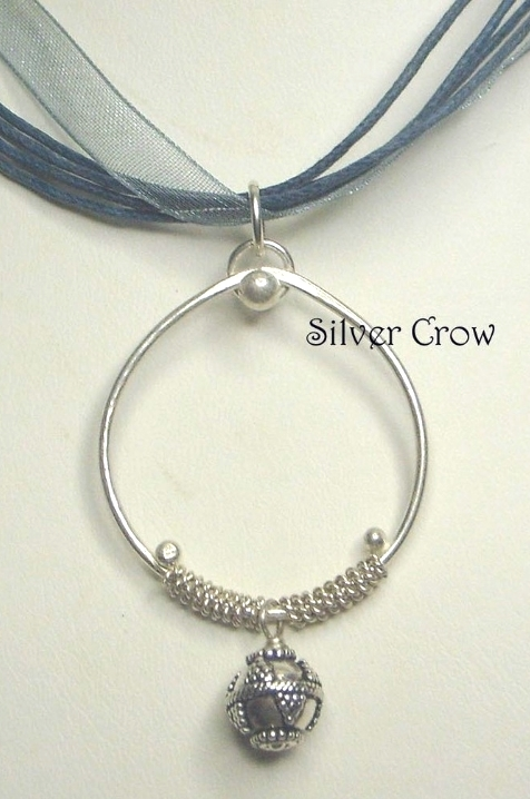 Sterling Silver, Bead & Coil Hoop Pendant Necklace