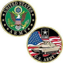 "ARMY MILITARY M1 ABRAMS TANK LOGO ABRAMS USA FLAG 1.75"" CHALLENGE COIN - $18.04"