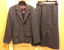 Country Suburbans Heather Blue Wool Wrap Skirt, Size 10 & Blazer Size 8, Suit - $19.79