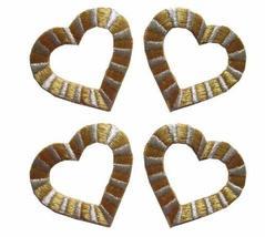 Spk Art 4 Pcs Golden Silver Heart Embroidery Iron On Applique Patch, Sew... - $4.86