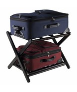 Espresso Wooden Folding Luggage Rack Straps Extra Storage Bags Travel Gu... - $149.39