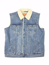 Levis Jeans Men S Light Blue Youngstown Denim Sherpa Trucker Vest Jacket... - $66.49