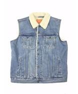 Levis Jeans Men S Light Blue Youngstown Denim Sherpa Trucker Vest Jacket... - $66.49
