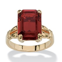 Emerald-Cut Birthstone 14k Gold-Plated Ring-January - Simulated Garnet - $22.39