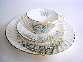 Aynsley Salad Dessert Plate Tea Cup & Saucer Yellow Aqua Flowers On Trel... - $29.65
