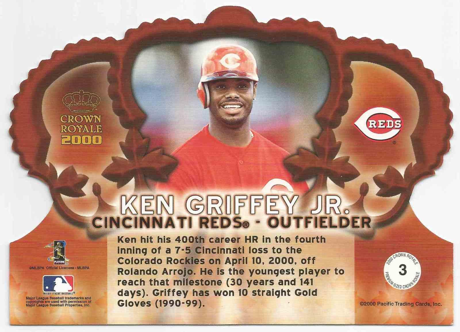 VERY RARE - 2000 Crown Royale # 3 - Ken Griffey,Jr. -  Cincinnati Reds - MINT