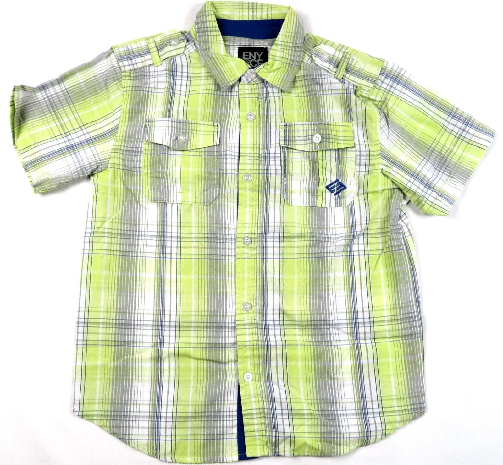 Boy's 4-7x Shirt ENYCE Button Front Woven Short Sleeve New Lime