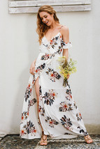 2017 Print Ruffled Chiffon Long Dress Women Strap vneck Split Beach Summ... - $39.99