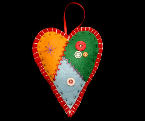 Country Patchwork Red Heart Christmas Ornament Handcrafted