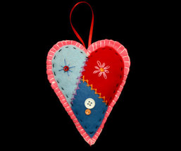 Country Patchwork Pink Heart Christmas Ornament Handcrafted - $10.95