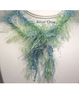 Blue Green Fiber, Lamp Work  and Bead Necklace - $49.99