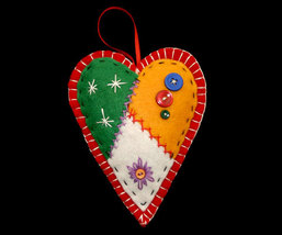Patchwork Country Red Heart Christmas Ornament Handcrafted - $10.95