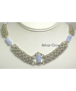 Chainmail Necklace Argentium Sterling Blue Lace Agate Helm  Chain Chainm... - $223.99