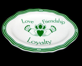 Celtic Ceramic Jewelry Plate in Green and White - $5.99