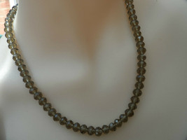 Sterling Silver Necklace Smoky Quartz Tone Glass Faceted Beaded *80 - $45.22