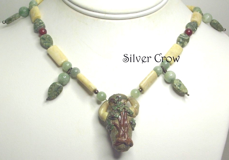 Tree Lamp Work Focal,Jasper, New Jade Agate Carnelian Gemstone Strung Necklace
