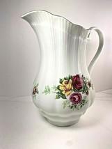 Vintage Crystal Clear Fine Porcelain Made Poland Pitcher Roses Gold Trim... - $24.74