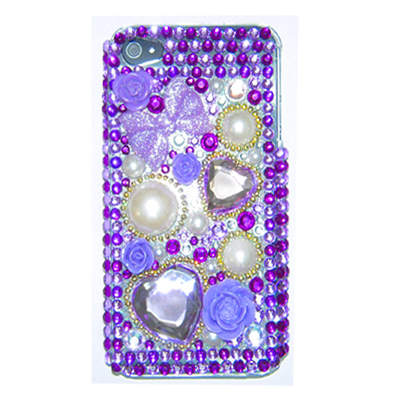 3D BLING PURPLE  HEART CRYSTAL COVER CASE for iPhone 4G