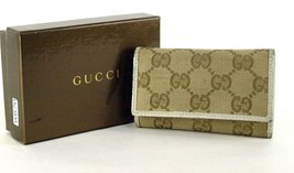 100% Auth GUCCI GG logo Canvas Fabric Beige 6 Key Case (1 missing) Italy - $117.81
