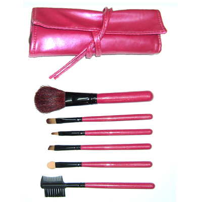6  Studio Mineral Hair brushes makeup Set Kit Pink Case