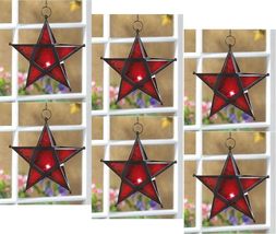 Six (6) wrought iron frame red glass hanging star candleholder lanterns,... - $43.00