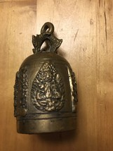 "Antique Brass Temple Bell India  - Handmade 3.5"" Tall - $25.00"