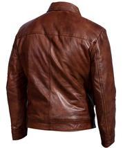 Men Biker Retro Motorcycle Brando Shirt Collar Distressed Brown Leather Jacket image 2