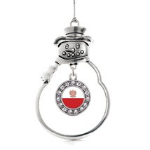 Inspired Silver Polish Flag Circle Snowman Holiday Christmas Tree Ornament With  - €12,87 EUR