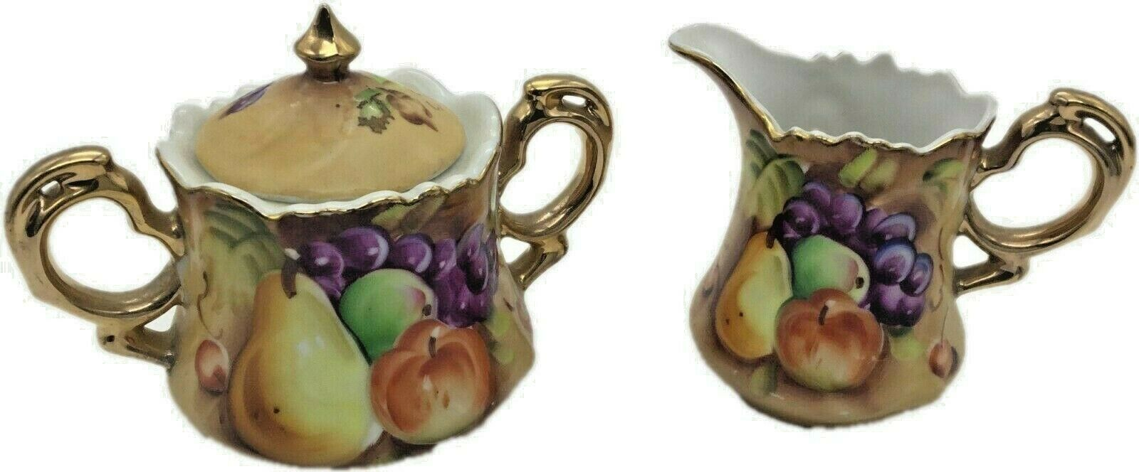 1950s Lefton Heritage Fruit Brown Lidded Sugar Bowl and Creamer, - $49.99