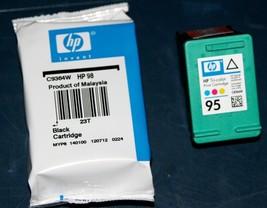 HP 98 Black & 95 Tri-Color Ink Cartridges Genuine OEM CB327FN - 07-2014 - $12.97