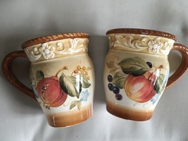 Set/2 CERTIFIED INTERNATIONAL Yellow/pomegranate Fruit Mug Pamela Gladding - $15.83