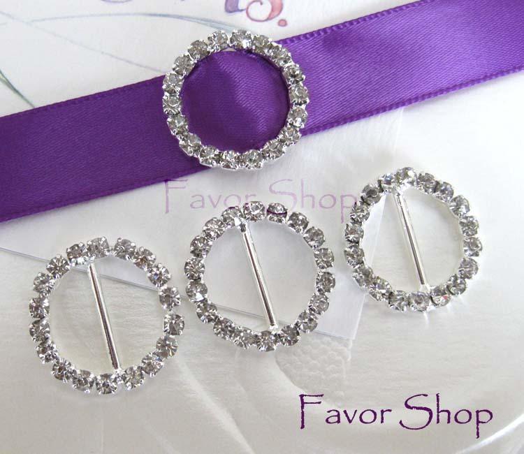12 Round Rhinestone Ribbon Buckles for Wedding Invation Card