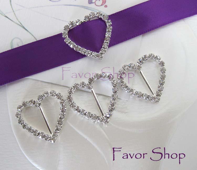 12 Heart Rhinestone Ribbon Buckles for Wedding Invation Card