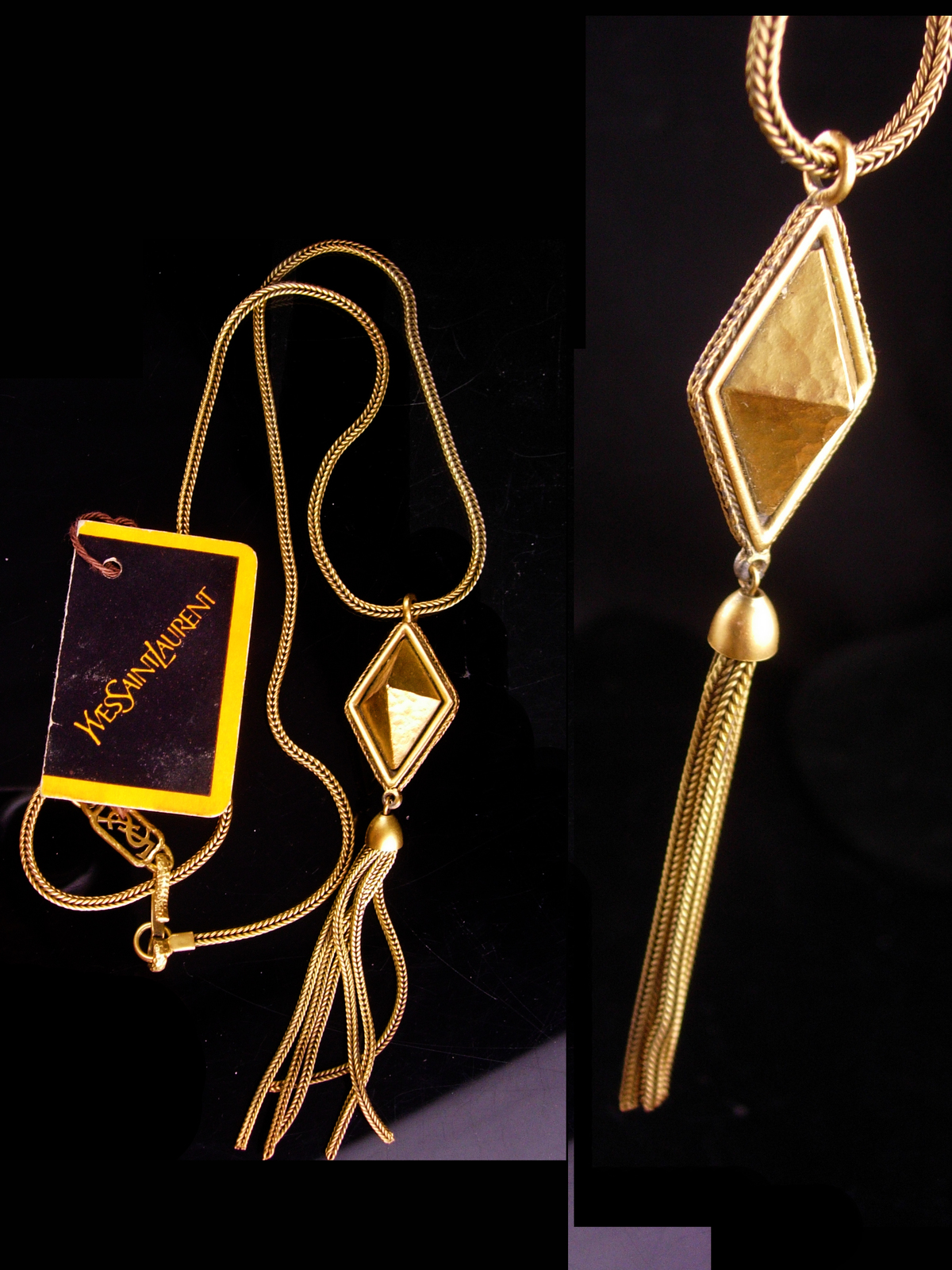 Vintage Yves Saint Laurent necklace - French necklace - original tag - YSL tasse
