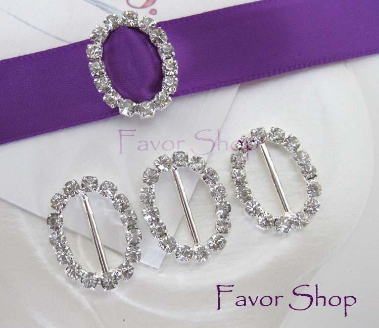 12 Oval Rhinestone Ribbon Buckles for Wedding Invation Card