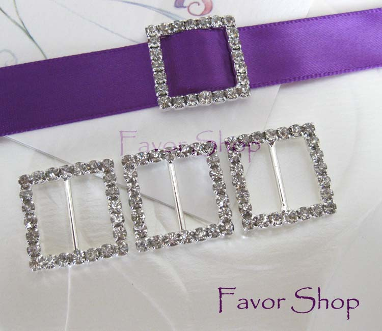 12 Square Rhinestone Ribbon Buckles for Wedding Invation Card
