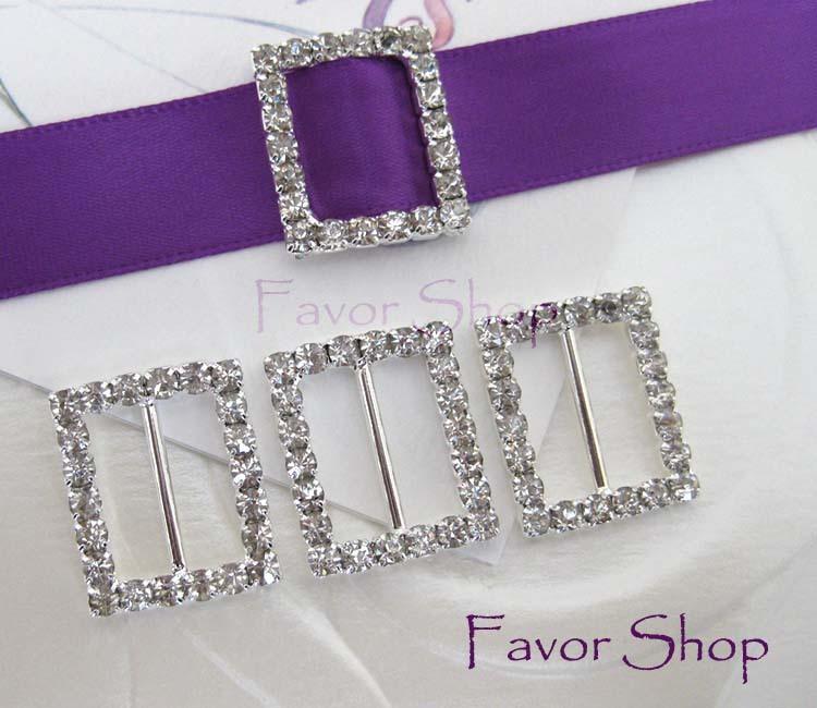 12 Rectangle Rhinestone Ribbon Buckles for Wedding Invation