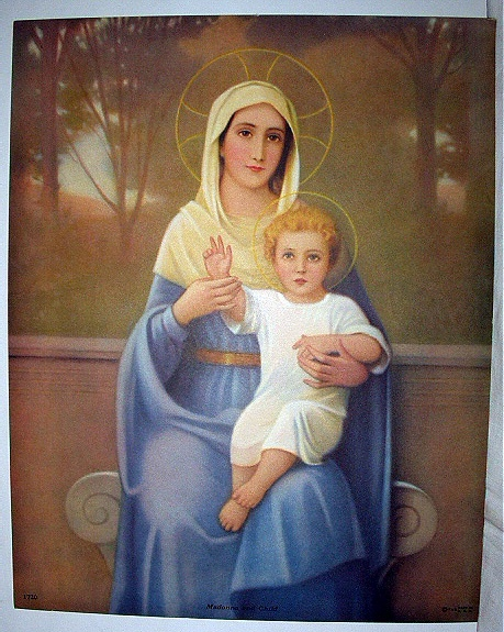 Madonna and Child Vintage Lithograph print-Vibrant coloring