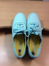 Womens Big Girl Classic Keds 9.5 Aqua Blue Polka Dot Fashion Fabric Sne... - $18.49