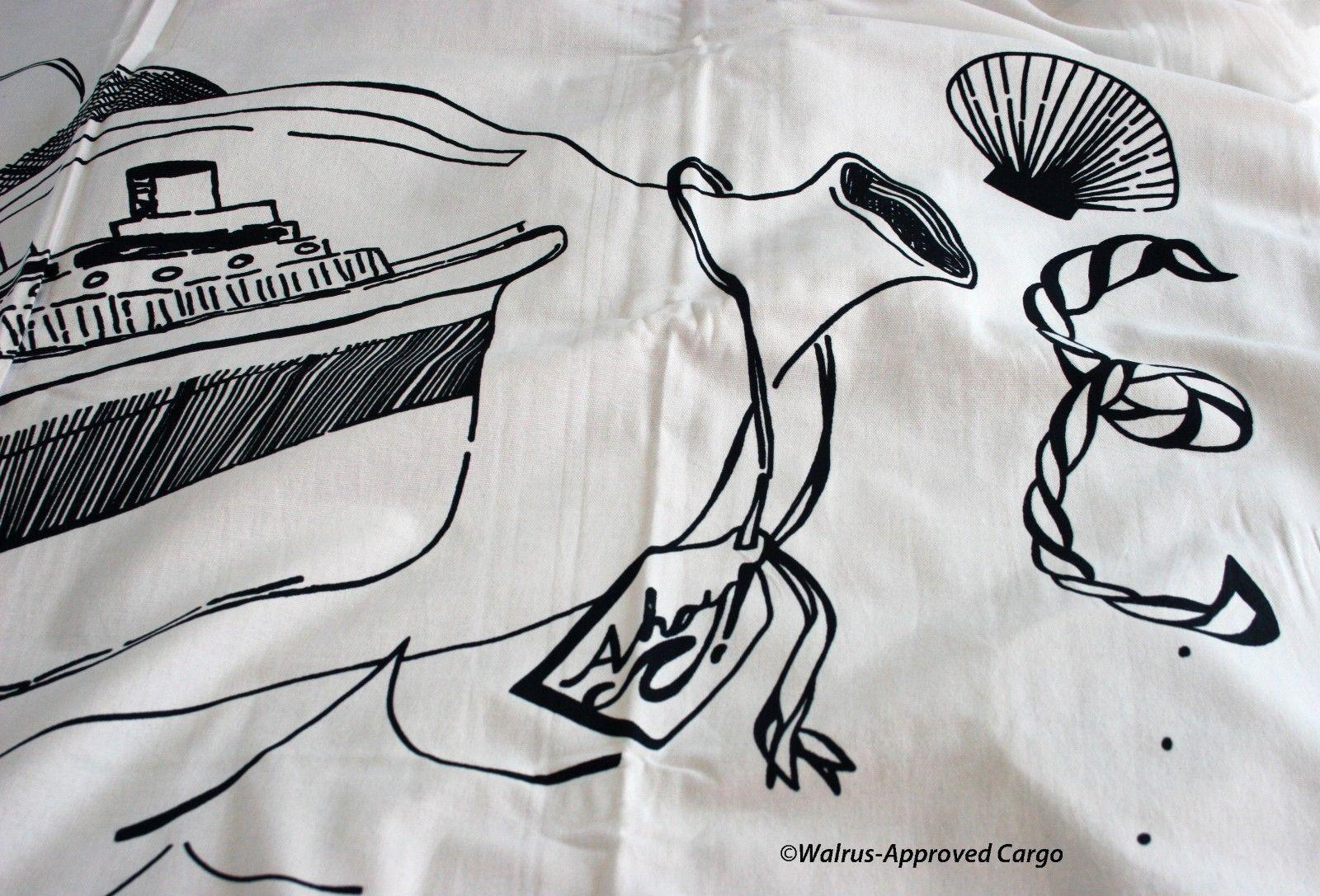 CRATE & BARREL KIDS SHIP IN A BOTTLE SHOWER CURTAIN -NWT- SAIL INTO FUN DÉCOR!