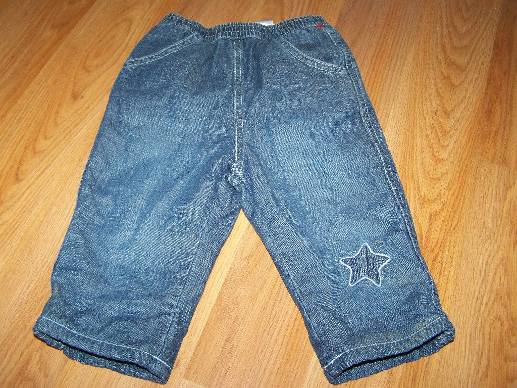 Primary image for Infant Baby Size 6-9 Months The Children's Place Fleece Lined Denim Blue Jeans